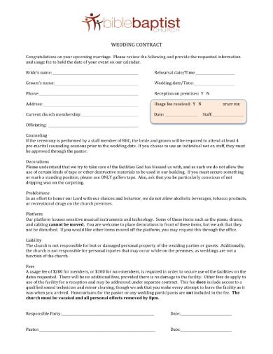 church wedding contract