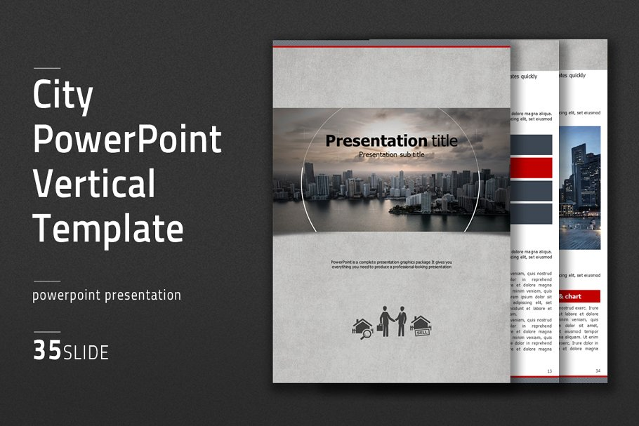 city powerpoint vertical real estate presentation template