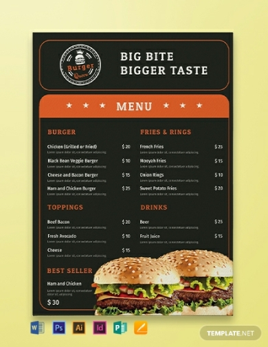 classic burger menu