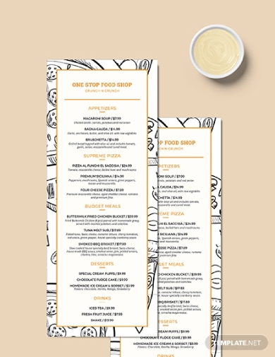 classic food and drinks menu