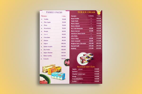 classic ice cream menu