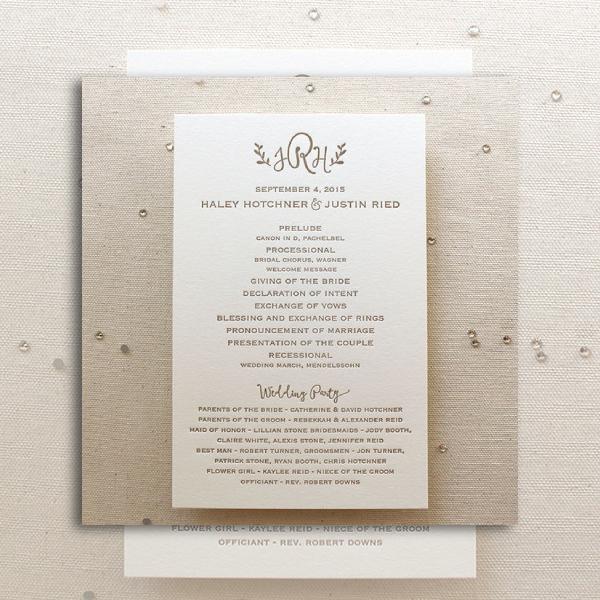 classic letterpress wedding program