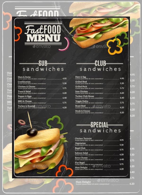 classic sandwich menu