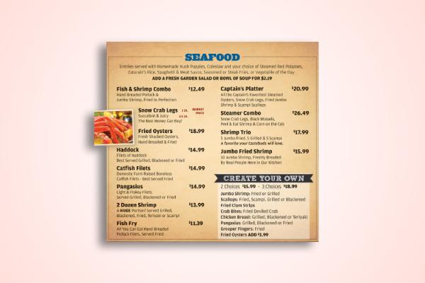 classic seafood menu