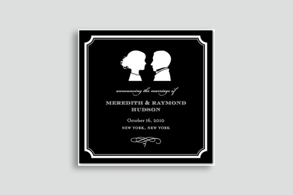classic silhouette wedding announcement