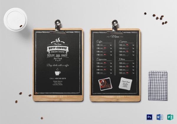 coffee drink menu