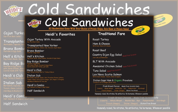 cold sandwich menu