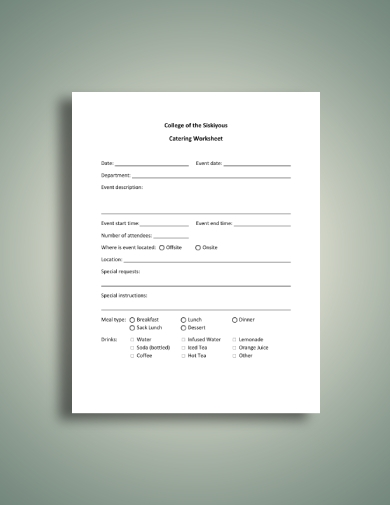 college catering worksheet