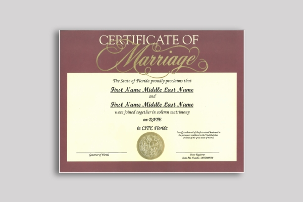 commemorative wedding certificate