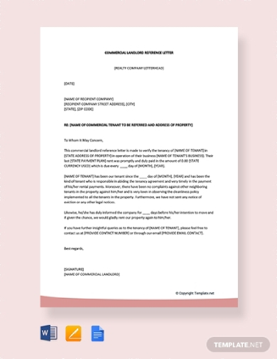 commercial landlord reference letter for tenant