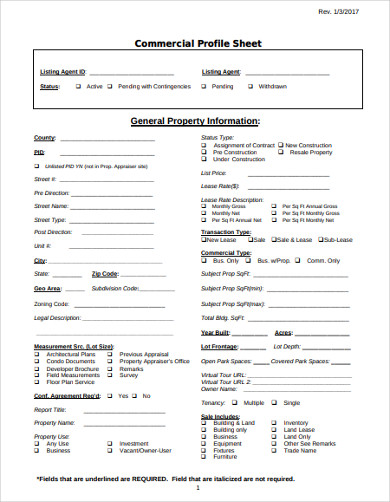 commercial profile property listing sheet