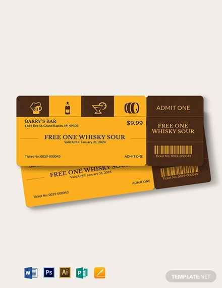 complimentary drink ticket template