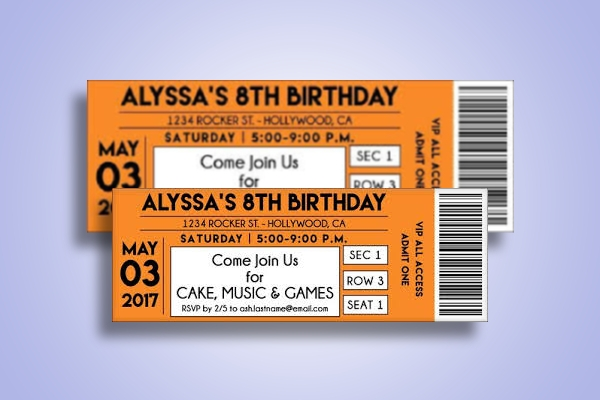 concert birthday ticket