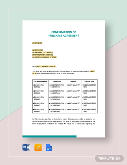confirmation of purchase agreement template1