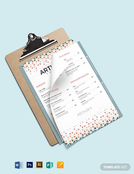 creative burger menu template