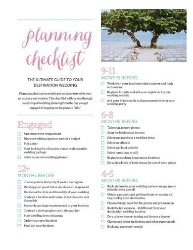 destination wedding planning checklist