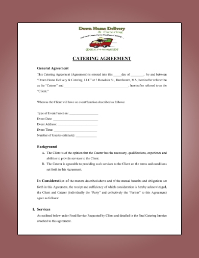 detailed catering agreement