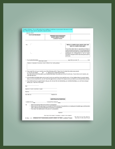 detailed late rent notice to tenant