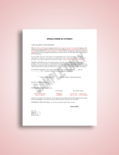 detailed special power of attorney