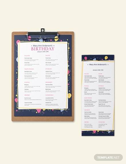 dinner birthday menu template