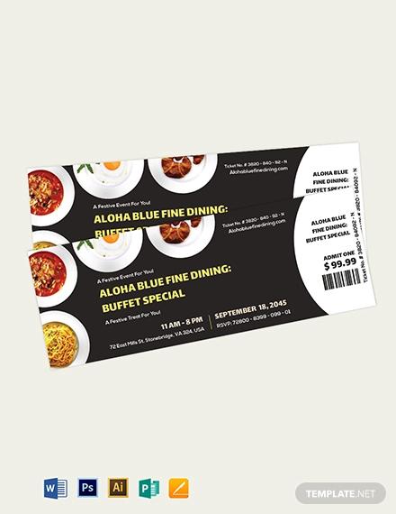 dinner event ticket template