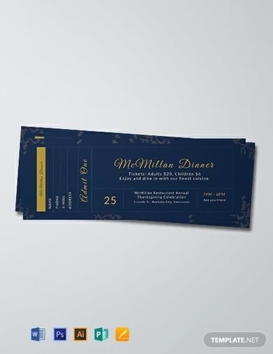 dinner ticket template