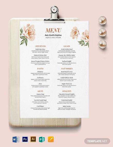 downloadable baptism menu template