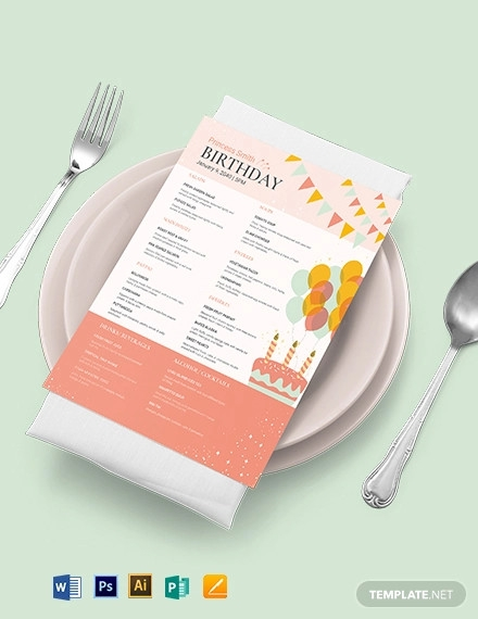 downloadable birthday menu template