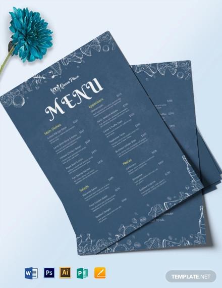 downloadable dinner menu template