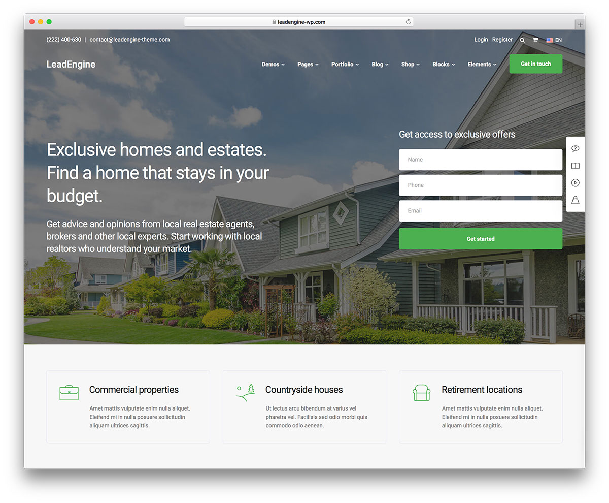easy to use commercial real estate wordpress template1