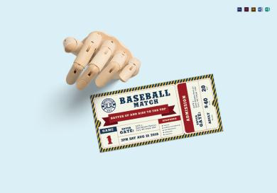 editable baseball ticket