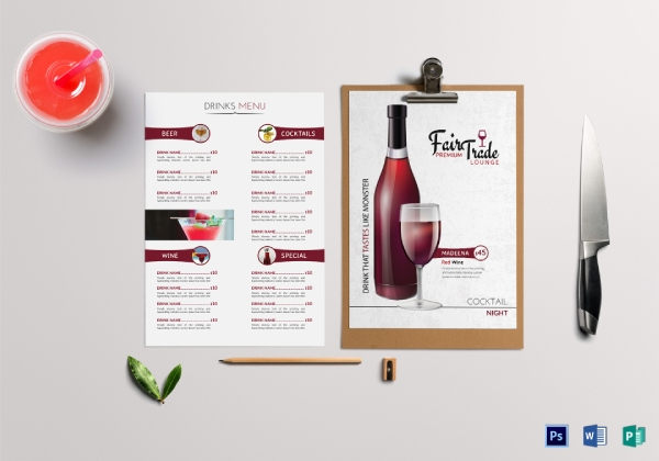 editable cocktail drinks menu