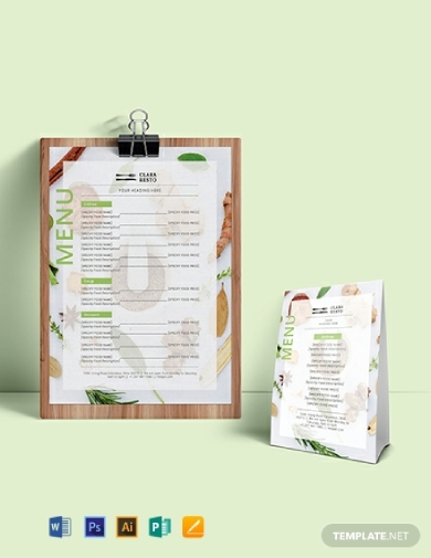 editable food menu