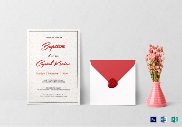 editable girl baptism invitation