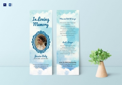 editable memorial bookmark1