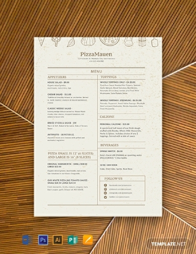 editable pizza menu