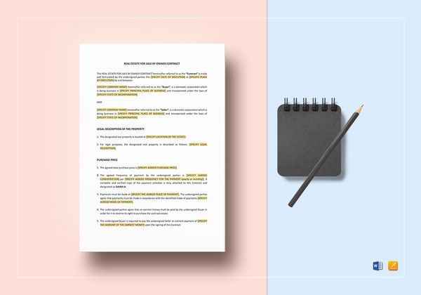 editable real estate contract template