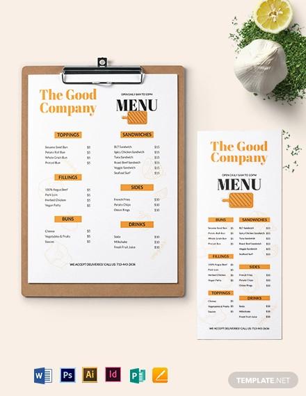 editable sandwich sub menu template