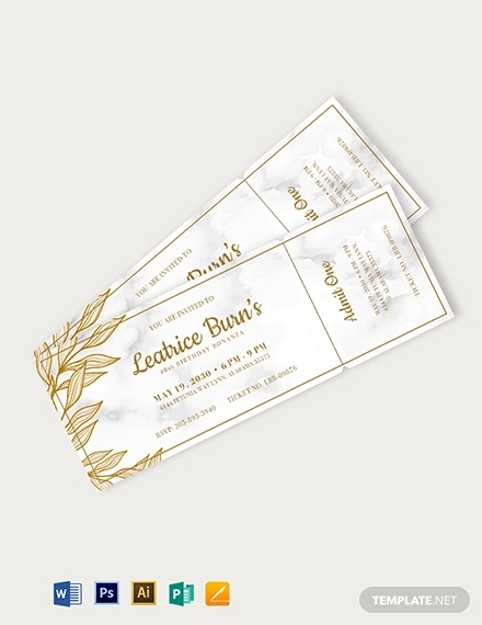 elegant birthday ticket template