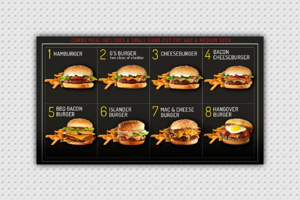 elegant burger menu