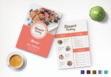 elegant dessert menu