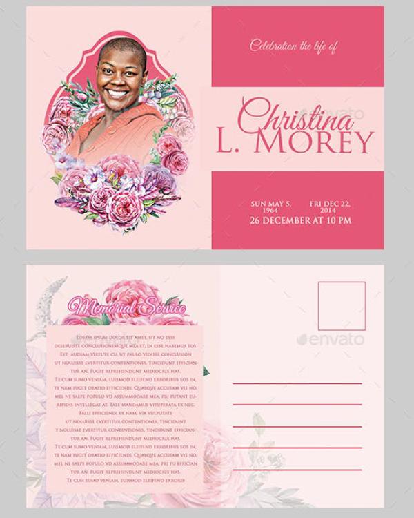 elegant funeral postcard