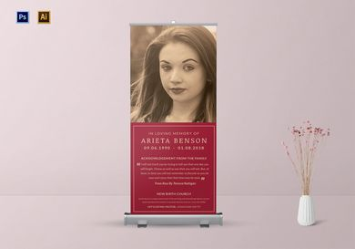 elegant funeral roll up banner