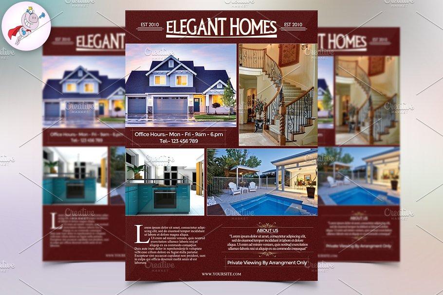 elegant luxury homes real estate flyer