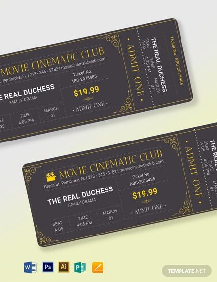 elegant movie ticket template