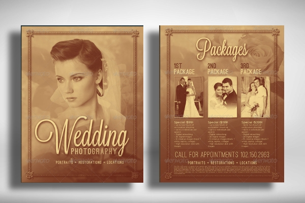 elegant wedding photography flyer template