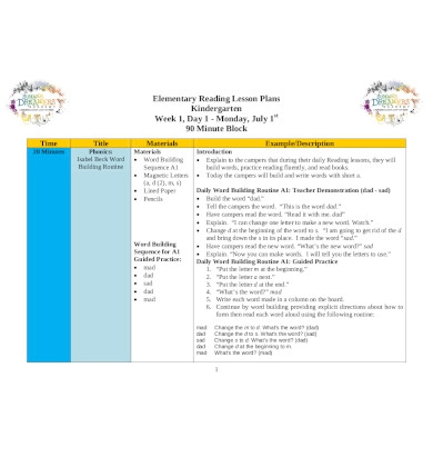 elementary weekly reading lesson plan1