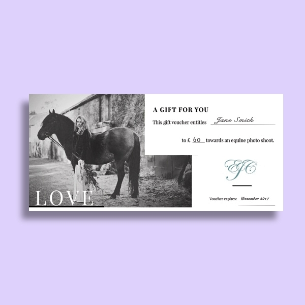 equestrian photo gift voucher