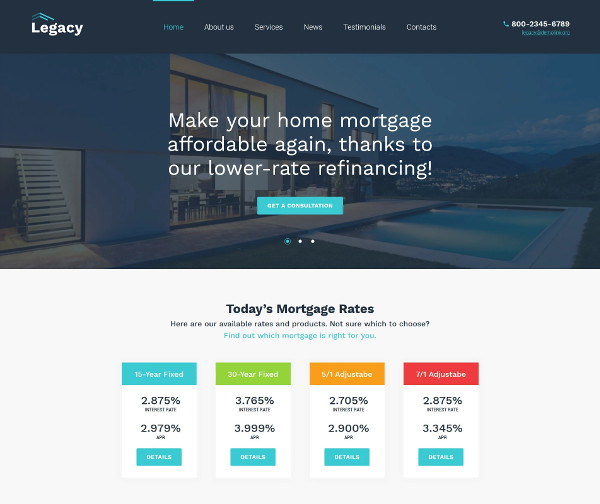estate and mortgage listing wordpress website