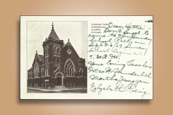 evangelical church postcard
